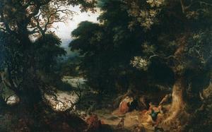 Boslandschap met Diana en haar slapende nimfen