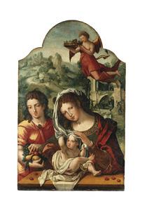 Maria met kind en de H. Johannes. Het kind speelt met de sluier
