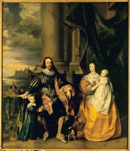 Familieportret van Charles I Stuart (1600-1649), koning van Engeland en Henriëtta Maria de Bourbon, koningin van Engeland (1609-1669) met hun twee oudste kinderen Charles (1630-1685) en Mary (1631-1660