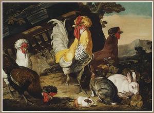 Kippen, konijnen en cavia in een landschap