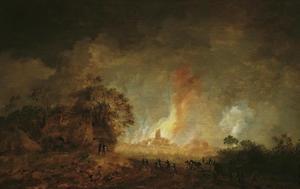 Grote brand in een stad in de nacht