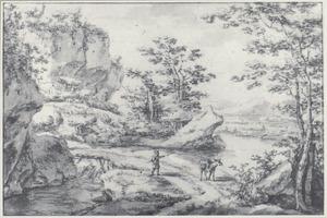 Berglandschap met een man en een muildier