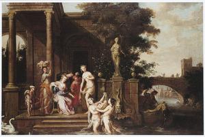 De dochter van farao en haar metgezellinnen vinden Mozes (Exodus 2)