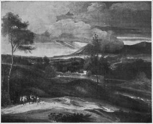 Zuidelijk landschap met twee ezels en hun begeleider onderweg