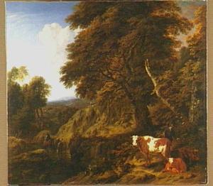 Boslandschap met herder en runderen