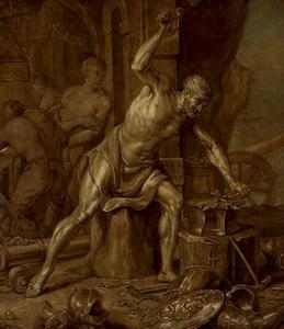 Vulcanus smeedt de bliksemschicht van Zeus