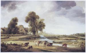 Landschap met runderen en een dorp