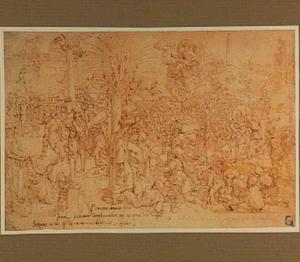 Intocht in Jericho met de Ark des Verbonds na de val van de muren door bazuingeschal (Jozua 6:20)
