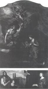 Altaarstuk met de Annunciatie; predella met Johannes de doper en de heilige Cecilia