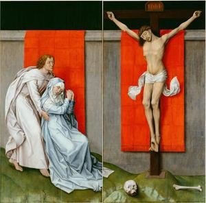 Christus aan het kruis met Maria en Johannes de Evangelist