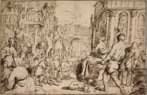 Heilige Cecilia deelt aalmoezen uit