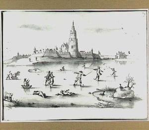 IJsgezicht met schaatsers bij een versterkte stad