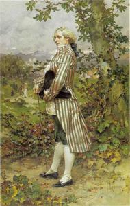 Een elegante heer in een heuvellandschap