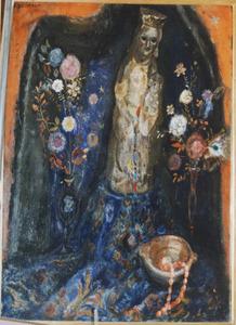 Stilleven met bloemen en madonnabeeldje