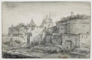 Gezicht over de stadsgracht op de Janspoort en de stadsmuur (met waltoren) van Arnhem