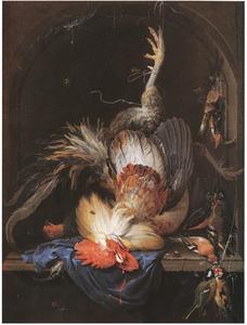 Stilleven met dode haan, ijsvogel, jachtgerei en zangvogels in een stenen nis