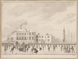Het IJ in de winter bij de Nieuwe Stadsherberg en de Haringpakkerstoren, Amsterdam