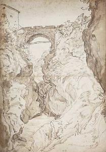 Tivoli, waterval in de Aniene met de San Rocco-brug