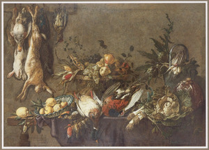 Stilleven met jachtbuit, vruchten en groente