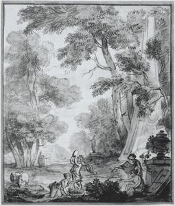 Wandontwerp met een bosrijk landschap met figuren bij een obelisk