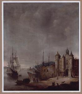 Zuidelijk havengezicht met hollandse schepen voor de kust