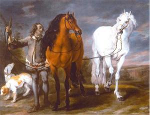 Jongen voert twee paarden aan de teugel; rechts twee honden