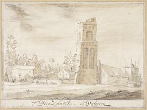 Het dorp Zanddijk in Walcheren met de ruïne van de kerktoren