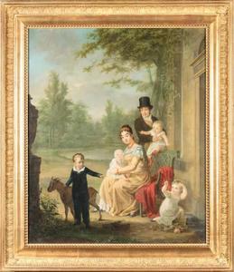 Portret van Hendrik Rochussen (1779-1852), Judith Bethlemina Charlotte Hubert (1780-1869) en hun kinderen