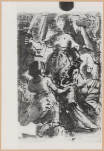 Judith stopt het hoofd van Holofernes in een zak die haar dienares ophoudt (Judith 8-16)