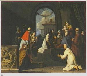 De H. Familie ontvangt de H. Catharina van Sienna, de H. Blaise, de H. Franciscus van Assisi, de H. Carlo Borromeo en de H. Apollonia