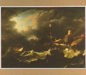 Het aan lager wal raken van de schepen 'Hollandia' en 'Ridderschap' tijdens de orkaan in de straat van Gibraltar, maart 1694