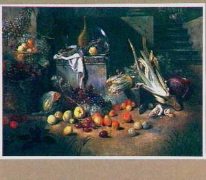 stilleven met groente en fruit in de buitenlucht