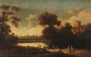 Bebost landschap met figuren bij een meer