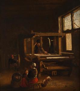 Interieur van een huisweverij
