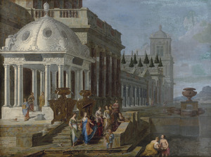 Fantasiepaleis met het vinden van Mozes (Exodus 2:5-6)