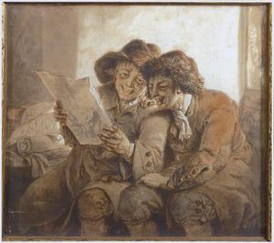 Twee zittende mannen bekijken lachend een tekening