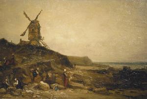 Landschap met molen en wassende vrouwen
