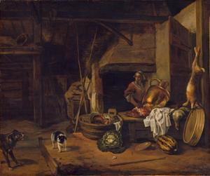 Keukenscène in een schuur met een boerin