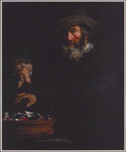 Een oude man die zijn handen warmt, met een jongen die in zijn handen blaast: allegorie op de winter