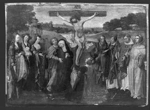 De kruisiging met de HH. Catharina, Cecilia, Barbara, Petrus, Augustinus, Laurentius en Franciscus
