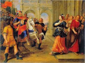 Jefta door zijn dochter begroet met zang en dans; hij scheurt zich in vertwijfeling de kleding  (Richteren 11:34)