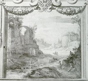 Landschap met Romeinse ruïnes en wandelaars