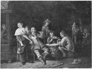 Kaartspelende en rokende soldaten in een interieur
