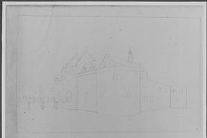 Voor- en rechterzijde van het kasteel van Woerden