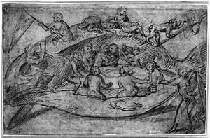 Feestende apen in een vis