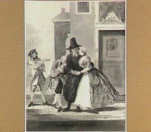 Scène uit de comedie 'De listige vrijster of de verschalkte voogd' door Y. Vincent: Ruffina reikt haar beminde Heerman de rechterhand, terwijl ze met dubbele tong haar voogd Steiloor om de tuin leidt (2de bedrijf, 14de toneel)