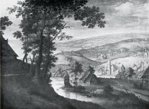 Landschap met zich op een dorp aan een rivier