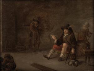 Interieur met een rokende soldaat
