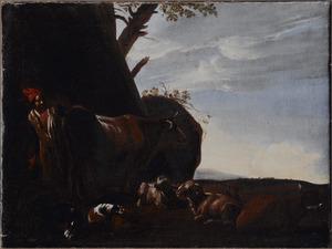 Zuidelijk landschap met een herder en zijn vee