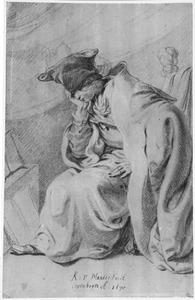 Peinzende zittende man met zijn hand onder zijn kin in een mantel met bontmuts